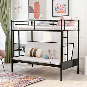 Twin Over Full Metal Bunk Bed With Bench Double Ladder Design Black Bed