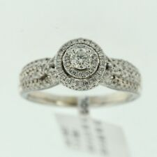 Womens 14k White Gold Genuine Round Cut Diamond Ladys Engagement Ring Band
