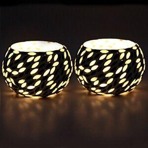 Black & White Beads Decorated Tealight Holder Candle Light Holder- Set Of 2