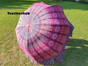 Indian Peacock Style Patio Umbrellas Handmade Cotton Umbrella Sun Shade Parasols