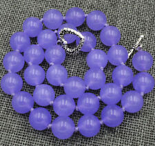 12mm Lavender Emerald Round Gemstone Necklace 18'' Tibetan Silver Love Clasps