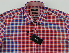Men's HUGO BOSS Red Blue White Plaid LOK Shirt M Medium NWT NEW $145+ Nice!
