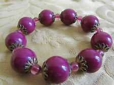Purple Plastic Bead Elasticated Bracelet