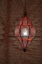 Gold & Red Moroccan Turkish Lamp Hanging Ceiling Light Fixture Oriental Lantern