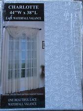 "1 United Curtains Charlotte Lace Waterfall Window Valance , 44"" x 38"", White"