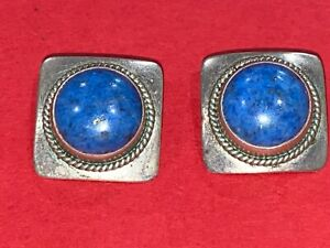 Vintage Sterling Silver Artie Yellowhorse Navajo Clip On Round Square Earrings