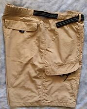 GREAT NORTHWEST Mens XL Nylon Shorts Beige Hiking Belted Lightweight 7 Pocket