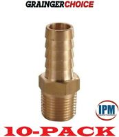 """10-PACK! NEW! 6AFH3 GRAINGER CHOICE Brass 1/4"""" Hose Barb x 1/8"""" Male NPT Fitting"""