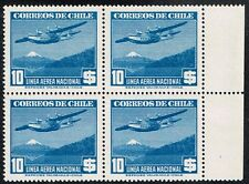 CHILE 1943 AIR MAIL STAMP # 313 MNH BLOCK OF FOUR AVIATION