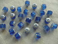 12  7mm Matt Royal Blue/ Silver Czech F/ P Glass Cathedral Beads +30 4mm Round