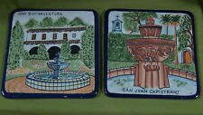 Set Of 2 Spain Pottery Hand Painted Majolica Art Tiles Wall Plaques
