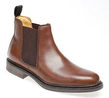 Mens Brown Leather Chelsea Ankle Dealer Boots New in Box UK Size 9