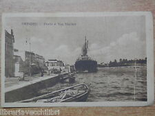 CARTOLINA vecchia foto d epoca 1926 BRINDISI PORTO E VIA MARINA Nave ormeggio di