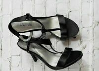 """KENNETH COLE REACTION """"Know Way"""" Black Ankle Strap Open Toe Heels Wn's Size 9.5"""