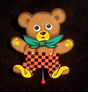 Fabulous Vintage Wooden Musical Teddy Bear Pull Toy - Western Germany
