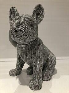 Silver Art Glitter Sparkle Sitting French Bulldog Ornament Dog Figurine Gift