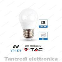 Lampadina led V-TAC 6W = 40W E27 bianco freddo 6000K VT-1879 miniglobo G45 bulbo