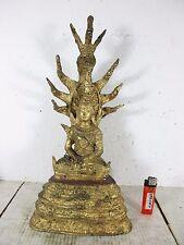 Età Naga Buddha M. Kobra Bronzo 24 Carati Dorato Thailand ~ 1950 nessuna copia