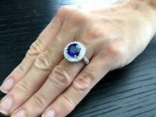 Naturale Blu Reale 4.86 Carato Sri Lanka Zaffiro e Diamante Anello Già