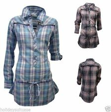 Checked Collared Long Sleeve Tops for Women