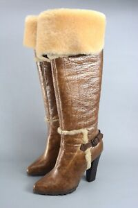 Amazing CASADEI Shearling Boots 38.5 / 8.5US Handmade in Italy
