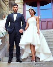 Simple White High Low Wedding Dress Sleeveless Bridal Gown Custom Size 2-26+
