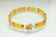 Yellow Jade Gold Plated Blessing Fortune Link Clasp Bangle Bracelet