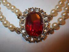 HOBE Vintage 2Strand Majorca Pearl CHOKER Necklace 7CT Open Back Big RED Crystal