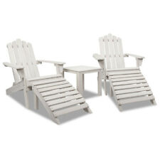 5pc Outdoor Chair and Table Set Wooden Adirondack Beach Furniture Beige White
