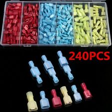 Nylon 240pcs Assorted Fully Insulated Electrical Crimp Wire Connectors Spade Kit