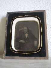 AMBROTYPE ? PHOTO ANCIENNE ENCADRE PORTRAIT D HOMME XIX°s St DAGUERREOTYPE