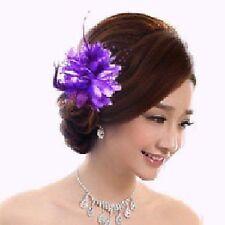 Ansteckblume Rose Perlen Blume Haarklammer Haargummi Brosche Federn hell lila C4