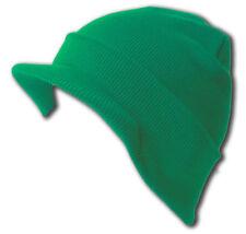 Knit Cuff Beanie Visor - Winter Wear/Sports - Kelly Green