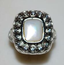 925 STERLING SILVER MOTHER OF PEARL & CZ CUBIC ZIRCONIA RING 7.6 GR SZ 7 RT8