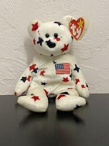 Ty Beanie Babies Glory Bear Plush Toy Patriotic Tag Errors 1997/1998 Vintage