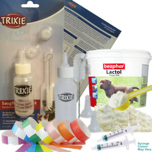 Beaphar Lactol Newborn Puppy Milk Bottle 2 Feeding Syringes & Whelping ID Bands