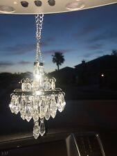 New Chandelier for Car Rear View Mirror Sparkly Clear Crystal Color Beads Silver