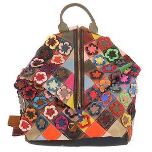Tasche Rucksack Echt Leder Shopper Patchwork Vintage Blumen Multicolor Bunt Top