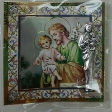 "SAINT ST JOSEPH CATHOLIC POCKET STATUE & 3"" X 3"" GOLD STAMPED HOLY CARD NOVENA"