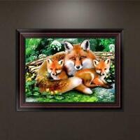 DIY 5D Diamond Embroidery Fox Family Painting Cross Stitch Art Craft Home Decor