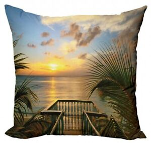 Ambesonne Tropical Palm Sunset Beach Summer Pillow Cover  16 x 16