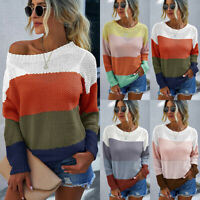 Women's Round Neck Rainbow Sweater Jumper Top Loose Long Sleeve Casual Pullover