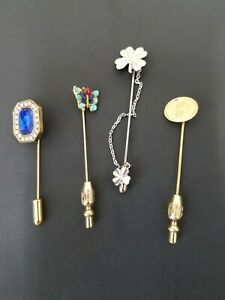 VINTAGE COLLECTION OF 4 MENS LAPEL PIN STICKPIN BUTTERFLY TURQUOISE STONES MORE