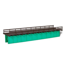 ExactRail HO:72' Deck Plate Girder Bridge, Wood Handrails - Black, Silver, Green