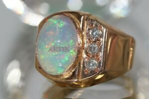 Natural Opal Gemstone with Rose Gold Plated 925 Sterling Silver Men's Ring #1351