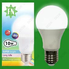 8x 10W A60 GLS ES E27 6500K Daylight White Frosted LED Light Bulb Lamp, 110-265V
