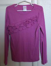 GYMBOREE Posh and Playful Size 7 Purple Long Sleeves Top Shirt Solid Ruffle EUC