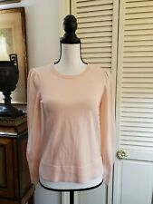 Ann Taylor LOFT Pink polyester Blend knit pullover sweater puffy sleeve Size S