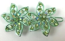 Lime Green Multi Crystal Big Long Barrette New Hair Accessory 2 Inches Long