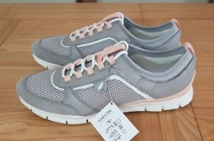 Geox Respira Sukie B Light Grey / Pink Lace Up Low Top Womens Gym Trainers